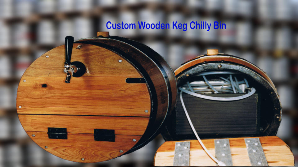 custom wooden keg dispenser